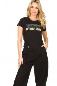 Louizon |  Imprinted T-shirt Sunsine | black   | Picture 4