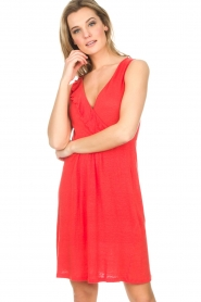 Blaumax |  Linen dress Jennifer | red  | Picture 4
