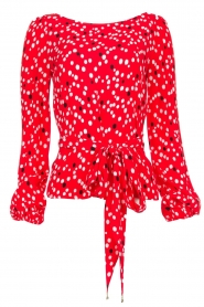Patrizia Pepe |  Top with dots print Luna | red  | Picture 1