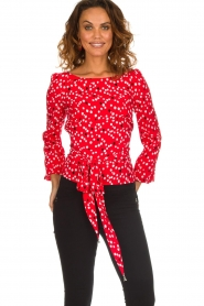Patrizia Pepe |  Top with dots print Luna | red  | Picture 2