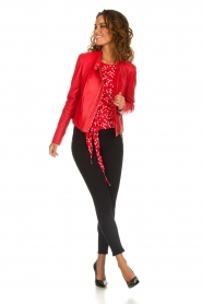 Patrizia Pepe |  Top with dots print Luna | red  | Picture 3