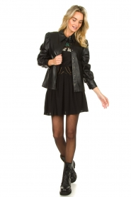 Louizon |  Skirt with gold seams Ella | black  | Picture 3