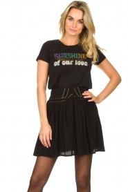 Louizon |  Skirt with gold seams Ella | black  | Picture 2