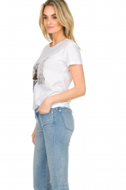 Patrizia Pepe |  Cotton T-shirt with print City NY | white  | Picture 5
