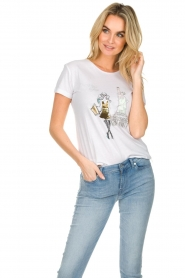 Patrizia Pepe |  Cotton T-shirt with print City NY | white  | Picture 4