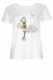 Patrizia Pepe |  Cotton T-shirt with print City NY | white  | Picture 1
