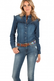 7 For All Mankind | Denim blouse Ruffle | blauw  | Afbeelding 2
