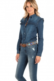 7 For All Mankind | Denim blouse Ruffle | blauw  | Afbeelding 4