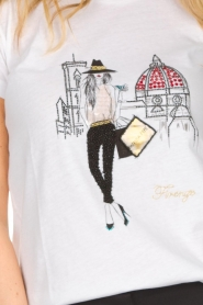 Patrizia Pepe |  Cotton T-shirt with print City FLRNCE | white  | Picture 6
