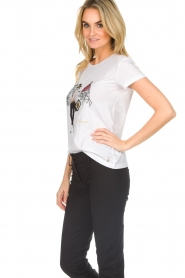 Patrizia Pepe |  Cotton T-shirt with print City FLRNCE | white  | Picture 4