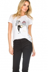 Patrizia Pepe |  Cotton T-shirt with print City FLRNCE | white  | Picture 3