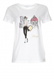 Patrizia Pepe |  Cotton T-shirt with print City FLRNCE | white  | Picture 1