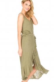 Blaumax |  Linen skirt Singapur | green  | Picture 4