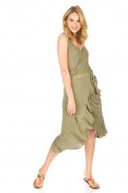Blaumax |  Linen skirt Singapur | green  | Picture 3