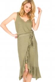 Blaumax |  Linen skirt Singapur | green  | Picture 2