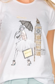 Patrizia Pepe |  Cotton T-shirt with print City LNDN | white  | Picture 6