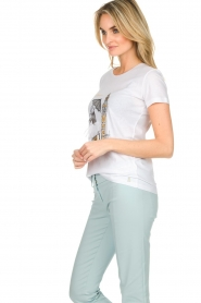 Patrizia Pepe |  Cotton T-shirt with print City LNDN | white  | Picture 4