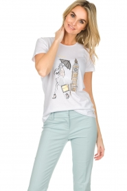 Patrizia Pepe |  Cotton T-shirt with print City LNDN | white  | Picture 2