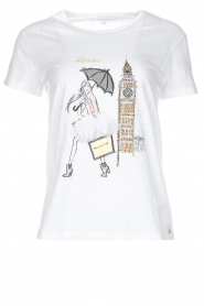 Patrizia Pepe |  Cotton T-shirt with print City LNDN | white  | Picture 1