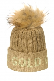 Goldbergh |  Knitted chunky beanie with faux fur Hodd | beige  | Picture 1