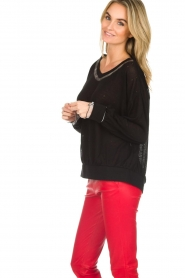 Patrizia Pepe |  Sweater with metallic details Xelly | black  | Picture 4