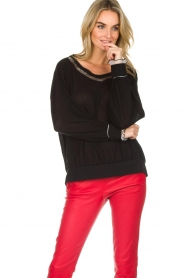 Patrizia Pepe |  Sweater with metallic details Xelly | black  | Picture 3