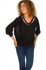 Patrizia Pepe |  Sweater with metallic details Xelly | black  | Picture 2