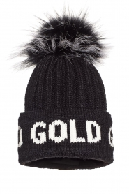 Goldbergh |  Knitted chunky beanie with faux fur Hodd | black  | Picture 1