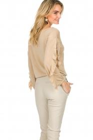 Patrizia Pepe |  Glitter sweater with ruffles Anna | beige  | Picture 6