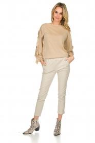 Patrizia Pepe |  Glitter sweater with ruffles Anna | beige  | Picture 3