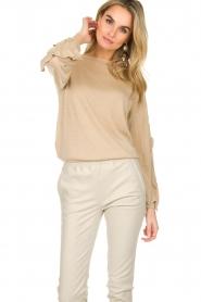 Patrizia Pepe |  Glitter sweater with ruffles Anna | beige  | Picture 2