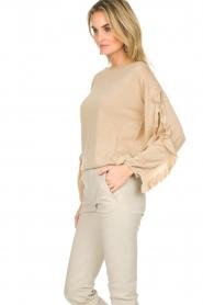Patrizia Pepe |  Glitter sweater with ruffles Anna | beige  | Picture 5