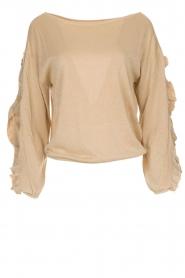 Patrizia Pepe |  Glitter sweater with ruffles Anna | beige  | Picture 1