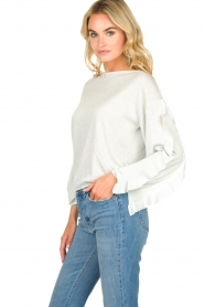 Patrizia Pepe |  Glitter sweater with ruffles Anna | light blue  | Picture 3