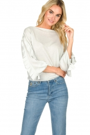 Patrizia Pepe |  Glitter sweater with ruffles Anna | light blue  | Picture 1