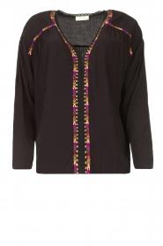 Louizon |  Blouse with coloured seams Bobdy | black   | Picture 1
