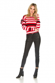 Patrizia Pepe |  Striped sweater with ruffles Belle | red  | Picture 3
