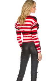 Patrizia Pepe |  Striped sweater with ruffles Belle | red  | Picture 6