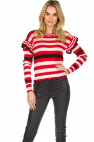 Patrizia Pepe |  Striped sweater with ruffles Belle | red  | Picture 4