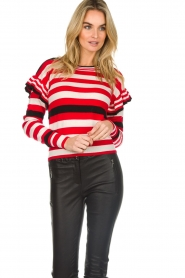 Patrizia Pepe |  Striped sweater with ruffles Belle | red  | Picture 2