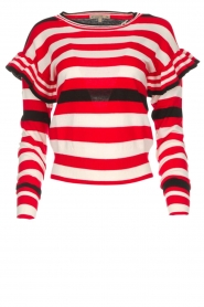 Patrizia Pepe |  Striped sweater with ruffles Belle | red  | Picture 1