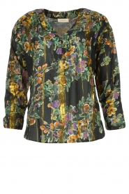 Louizon |  Flower printed blouse Franz | black  | Picture 1