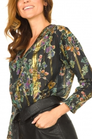 Louizon |  Flower printed blouse Franz | black  | Picture 7