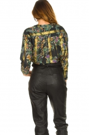 Louizon |  Flower printed blouse Franz | black  | Picture 6