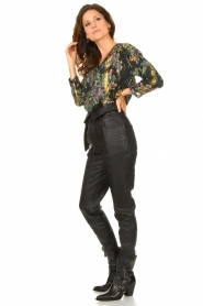 Louizon |  Flower printed blouse Franz | black  | Picture 3