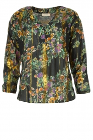 Louizon |  Flower printed blouse Franz | black  | Picture 1
