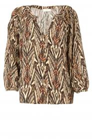 Louizon |  Printed blouse Joel | beige  | Picture 1