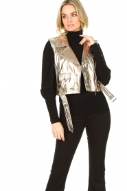STUDIO AR BY ARMA |  Leather waistcoat Moon | gold  | Picture 2