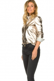 STUDIO AR BY ARMA | Golden leather blouse Dita | gold  | Picture 5