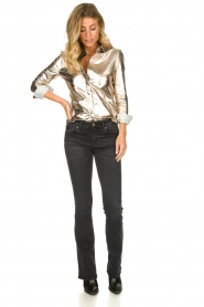 STUDIO AR BY ARMA | Golden leather blouse Dita | gold  | Picture 3